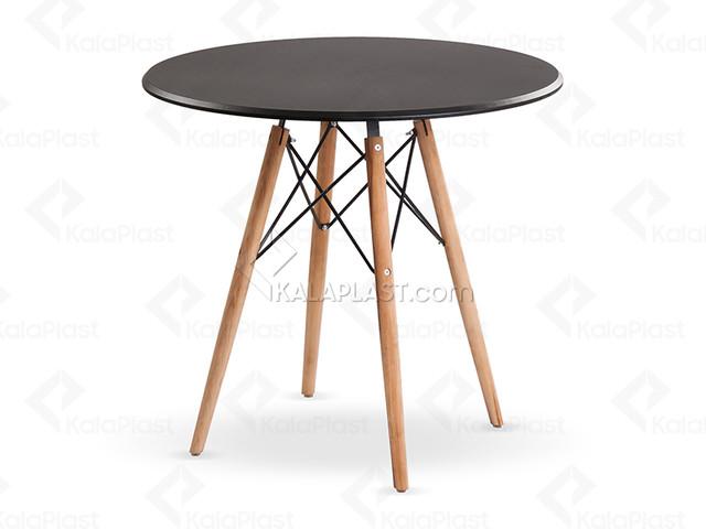 میز 4 نفره گرد پایه چوبی(راش) ایمیز با صفحه MDF روکش PVC کد118