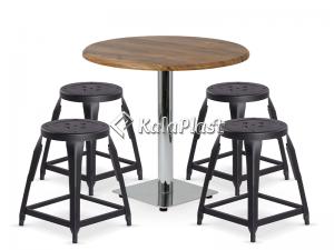ست چهارپایه و میز فلزی رویه چوب لیل 752151