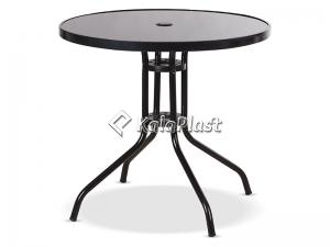 میز فلزی گرد کافه قطر 80 سانت با صفحه شیشه ای کد 934