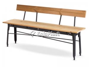 نیمکت فلزی با پشتی و رویه چوبی