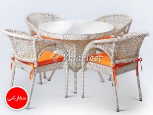 ست میز و صندلی حصیر بافت مدل سولار