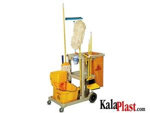 ترالی نظافت پلاستیکی (PVC) سه طبقه