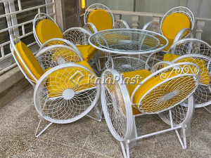ست میز و صندلی 6 نفره فلزی کالسکه