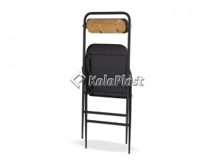 صندلی فلزی تاشو با رویه چوبی فرم دار
