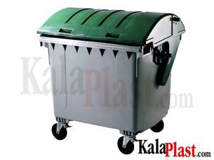 سطل زباله 1100 لیتری مکانیزه پلی اتیلن شهری با درب محدب