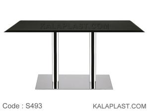 میز 6 نفره صفحه PVC پایه چدنی ورق استیل دوبل کد S493 (طول 140)
