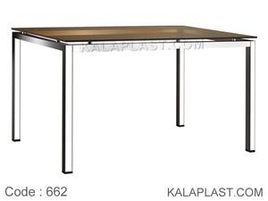 میز 6 نفره صفحه pvc  با چهارپایه پروفیلی کد 662