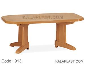 میز 8 نفره نیم بیضی پلاستیکی طرح چوب کد 913