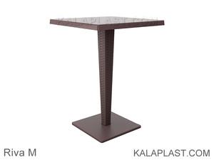 میز 4 نفره مربع تک پایه آلومینیومی حصیری ریوا