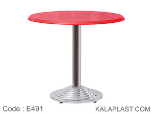 میز 4 نفره صفحه PVC با پایه پله ای چدنی کروم کد E491