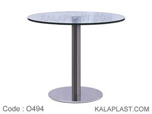میز 4 نفره دایره با صفحه شیشه 15 میل و پایه چدنی استیل کد : O494