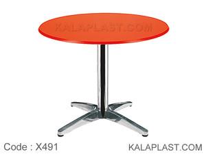 میز 4 نفره دایره با صفحه PVC و پایه چهارپر دایکاست کد X491