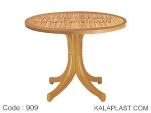 میز 4 نفره گرد پلاستیکی طرح چوب کد 909