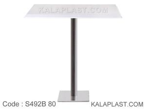 میز بار 4 نفره مربع صفحه PVC با پایه مربع چدنی استیل (80*80) کد S492B