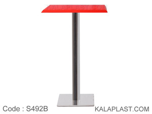 میز بار مربع صفحه PVC با پایه مربع چدنی استیل (60*60) کد S492B