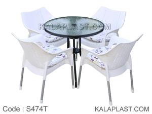 ست میز و صندلی 4 نفره ونیز با تشک کد S474T