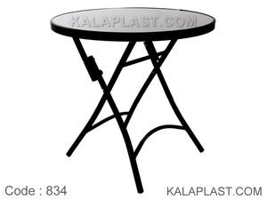 میز فلزی تاشو کافه قطر 80 سانت با صفحه شیشه ای کد 834
