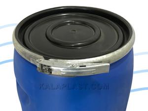 بشکه 60 لیتری ضخیم پلاستیکی دهانه باز با رینگ فلزی