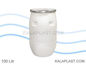 بشکه پلاستیکی 100 لیتری افق با کمربند فلزی