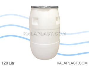 بشکه پلاستیکی 120 لیتری افق با کمربند فلزی
