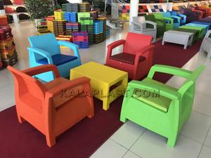 صندلی دسته دار حصیربافت گالریا با تشک