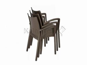 صندلی دسته دار حصیری پلاستیکی بامبو کد 804