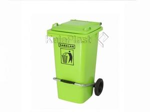 سطل زباله پلاستیکی 100 لیتری چرخدار و پدالدار سبلان