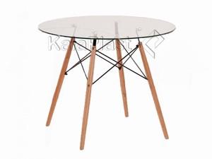 میز 4 نفره گرد صفحه شیشه ای با پایه چوبی TE500G