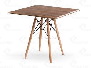 میز 4 نفره مربع پایه چوبی(راش) ایمیز با صفحه MDF روکش PVC