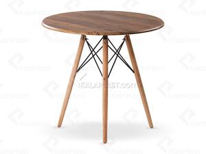 میز 4 نفره گرد با پایه چوبی TE500