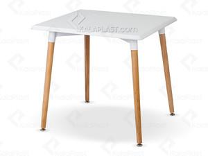 میز 4 نفره مربع مروارید با پایه چوبی