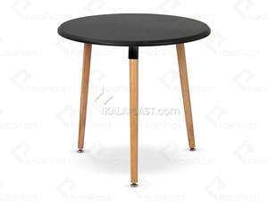 میز 4 نفره گرد مروارید با پایه چوبی