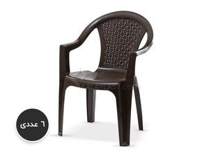 پک 6 عددی صندلی دسته دار حصیری بزرگ 812
