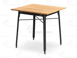 میز فلزی 4 نفره با رویه چوبی