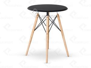 میز 4 نفره گرد پایه چوبی(راش) ایمیز با صفحه MDF روکش PVC