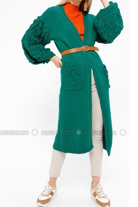 مانتو بافتنی سبز