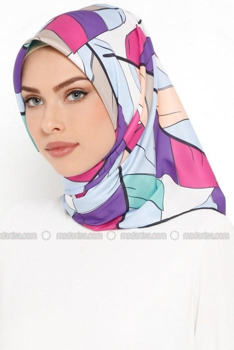 روسری صورتی آبی