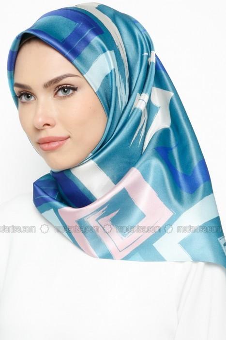 روسری ساتن آبی