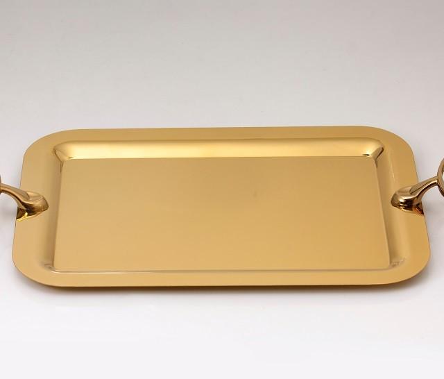 سینی مستطیل استیل طلایی براق تک استیل