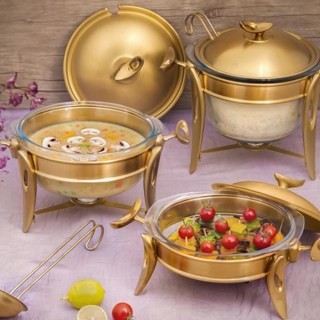 سوپ خوری تک استیل طلایی مات