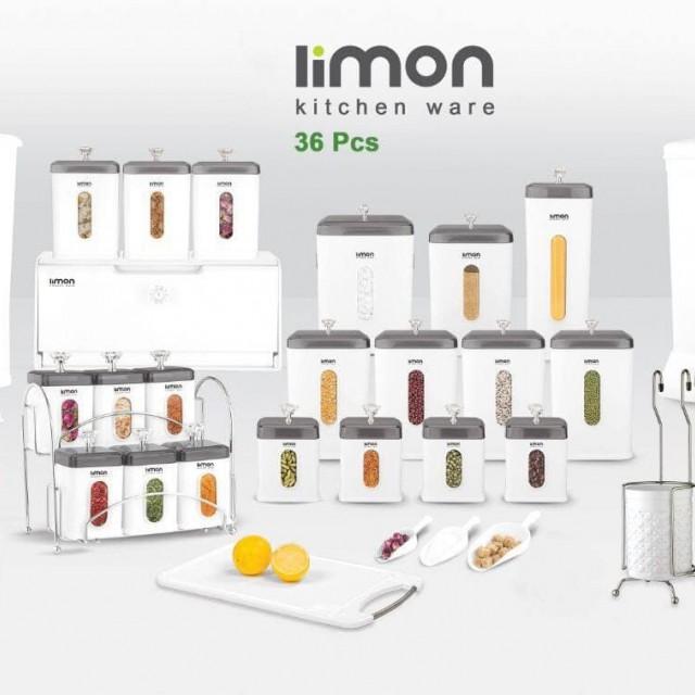 سرویس آشپزخانه چهارگوش 36 پارچه لیمون درب شفاف