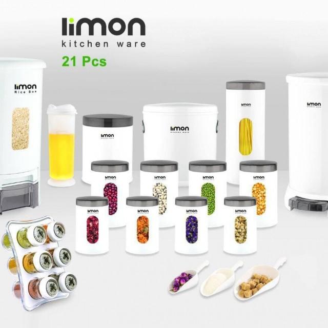 سرویس آشپزخانه گرد لیمون 21 پارچه لیمون