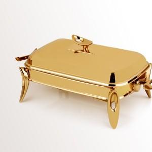 سوفله خوری طلایی براق مستطیل کوچک تک استیل 911G