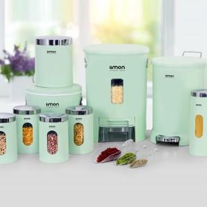 سرویس آشپزخانه 9 پارچه گرد لیمون درب شفاف