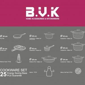 سرویس قابلمه 25 پارچه B.V.K رنگ زرشکی
