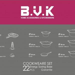سرویس قابلمه گرانیتی 22پارچه B.V.K رنگ نقره ایی