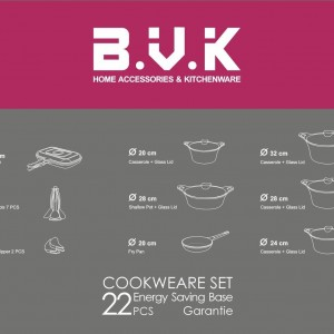 سرویس قابلمه گرانیتی 22پارچه B.V.K رنگ بادمجانی