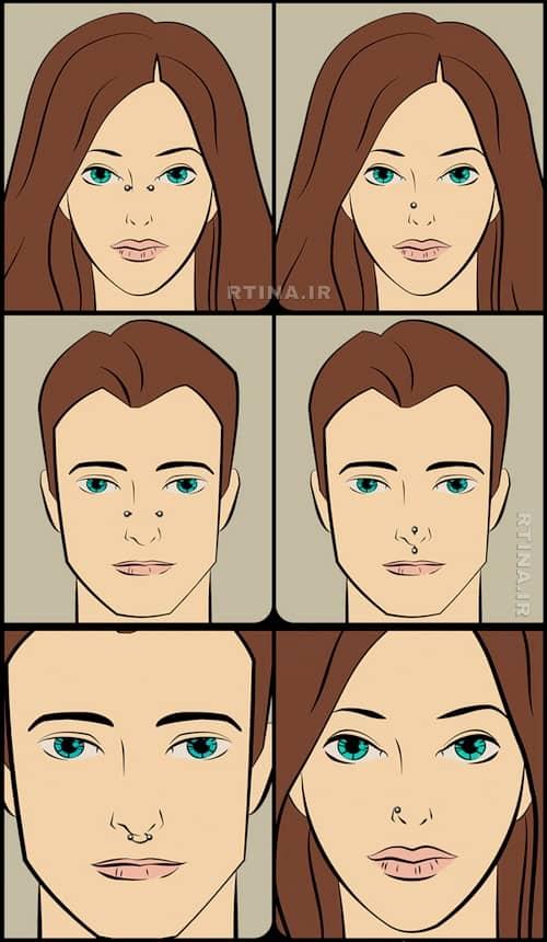 پیرسینگ بینی سمت چپ یا راست