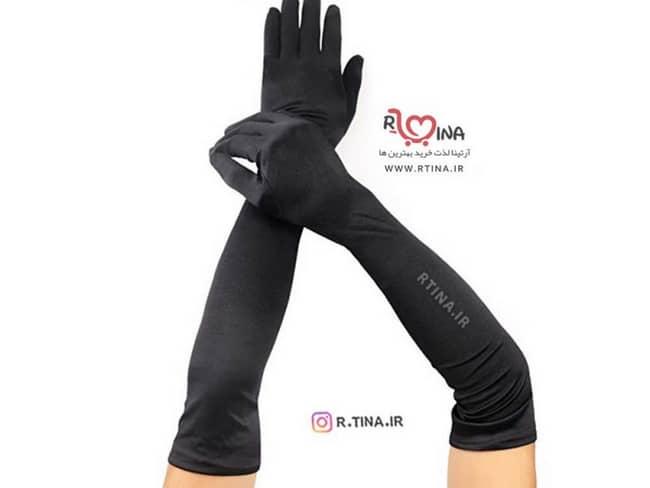 دستکش نخی زنانه ساق بلند مدل r110