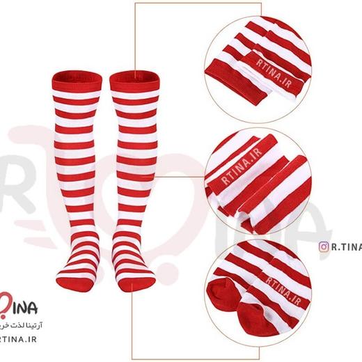 جوراب ساق بلند راه راه سفید قرمز